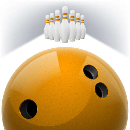 skittles: Yellow Bowling ball with holes in front. White skittles with red stripes on a white background Illustration