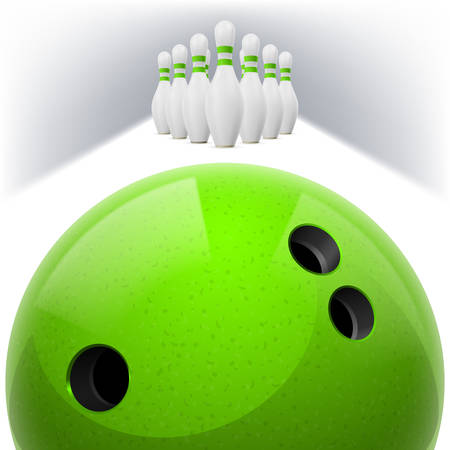 sphere standing: Green Bowling ball with holes in front. White skittles with red stripes on a white background