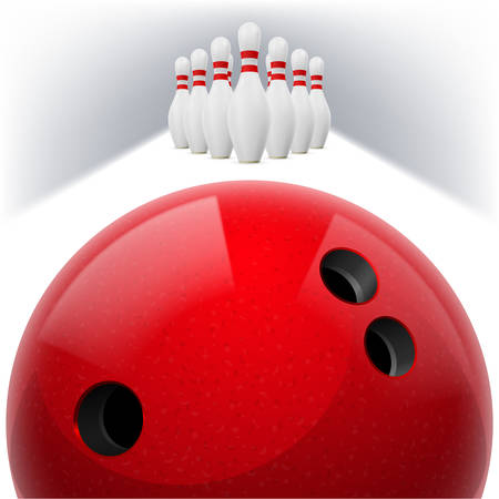 skittles: Red Bowling ball with holes in front. White skittles with red stripes on a white background Illustration