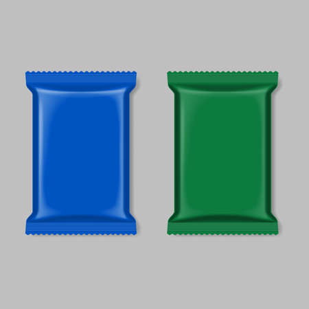 polymer: Polymer packaging set, blue and green isolated on gray