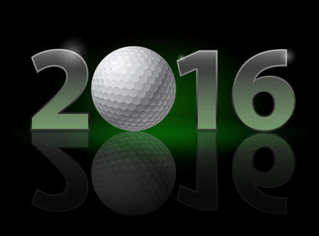 christmas golf: New Year Twenty-Sixteen:: metal numerals with golf ball instead of zero having weak reflection