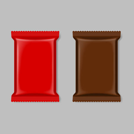 wipes: Set of polymer packaging in red and brown color