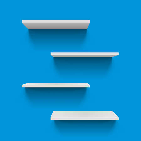 Horizontal gray bookshelves on blue background for design