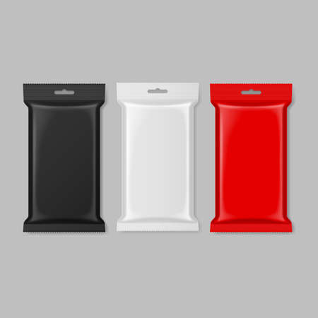 polymer: Set of polymer packaging in black white and red color Illustration