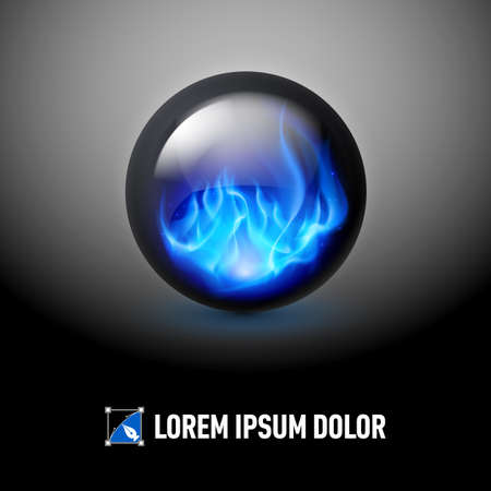 sphere logo: Logo Template with Black sphere and blue fire flames inside Illustration
