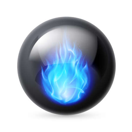 black magic: Black sphere with blue fire flames inside on white