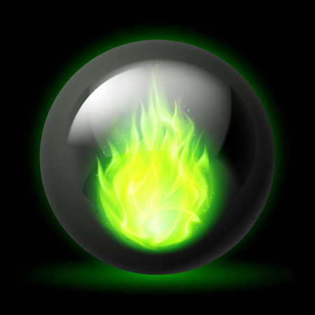 flames background: Black sphere with green fire flames inside on dark background