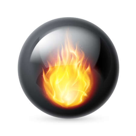 sphere logo: Black sphere with fire flames inside on white background
