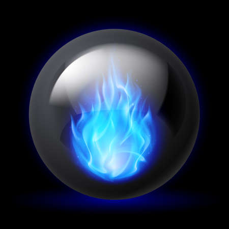 spheres: Black sphere with blue fire flames inside on dark background
