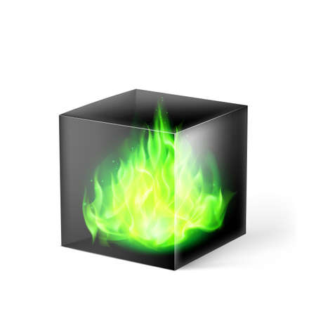 fuoco e fiamme: Black cube with green fire flames inside on white