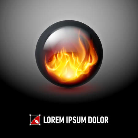 Black sphere with fire flames inside on dark background for design