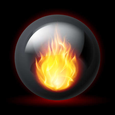 flames background: Black sphere with fire flames inside on dark background
