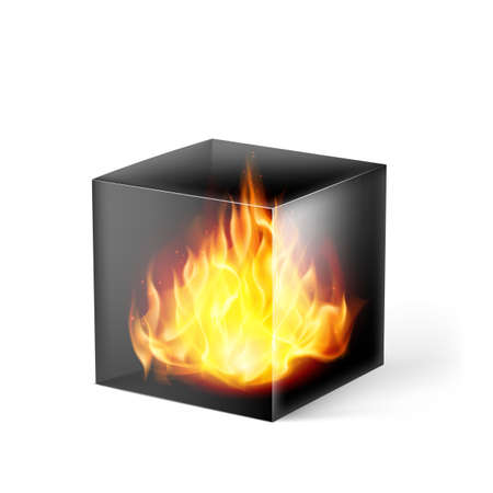 fire surround: Black cube with fire flames inside on white