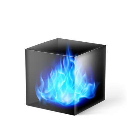 fuoco e fiamme: Black cube with blue fire flames inside on white