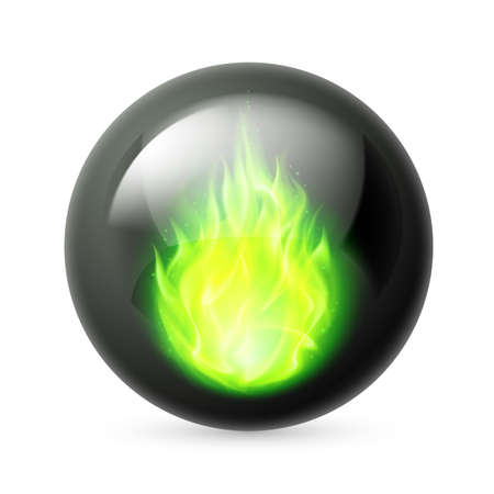 fuoco e fiamme: Black sphere with green fire flames inside on white