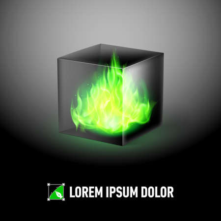 fuoco e fiamme: Logo Template with Black cube and green fire flames inside