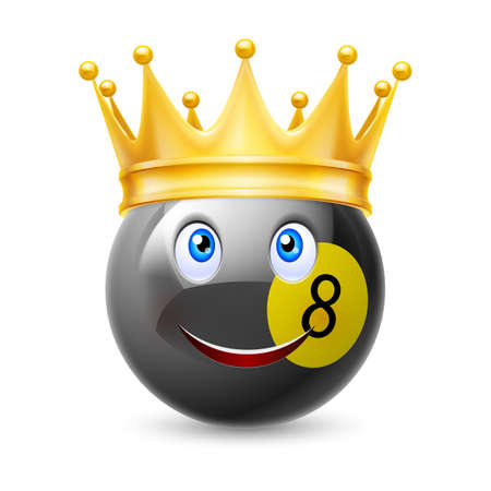 billiard ball: Gold crown on a billiard ball with smiling face