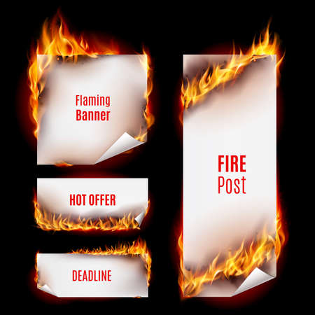 Hot fire banners set with orange flames for your design Vettoriali