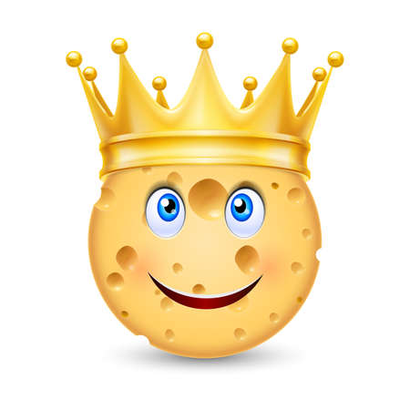 gusto: Golden crown on the head of cheese with smiling face Illustration