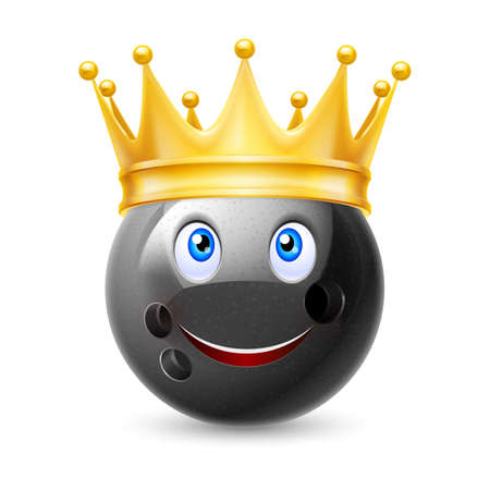 on strike: Golden crown on the ball for bowling with smiling face