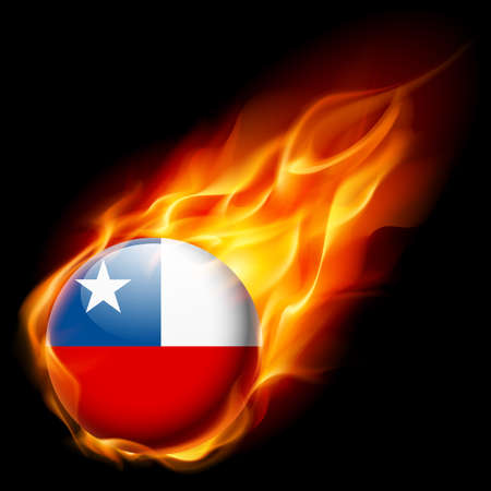 burn: Flag of Chile as round glossy icon burning in flame Illustration