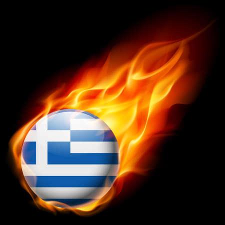 resplandor: Bandera de Grecia como redonda icono brillante ardiendo en llamas