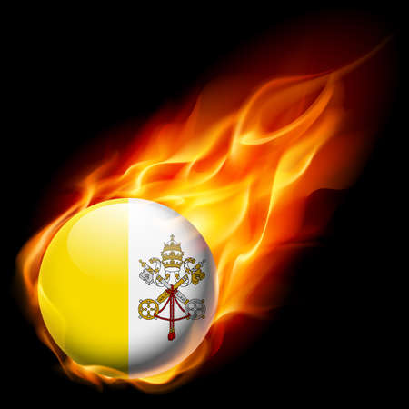 burn: Flag of Vatican City as round glossy icon burning in flame