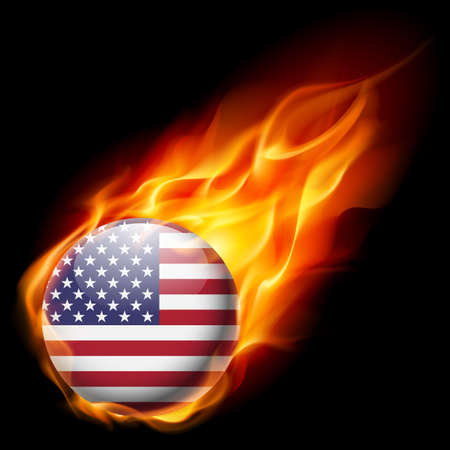 quemadura: Flag of USA as round glossy icon burning in flame
