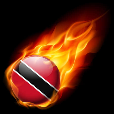 trinidad: Flag of Trinidad and Tobago as round glossy icon burning in flame