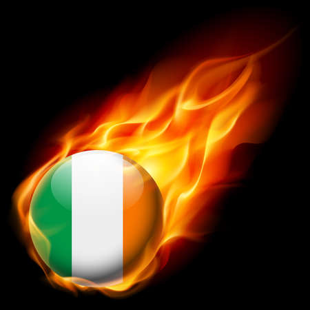 burn: Flag of Ireland as round glossy icon burning in flame