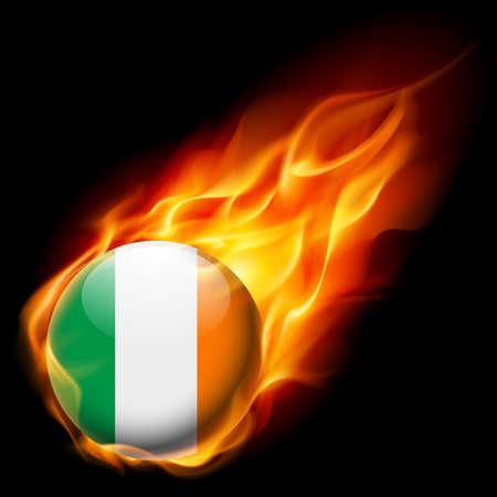 irish pride: Flag of Ireland as round glossy icon burning in flame