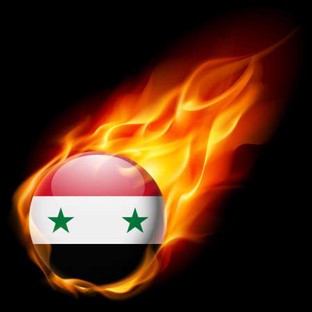 burn: Flag of Syria as round glossy icon burning in flame Illustration