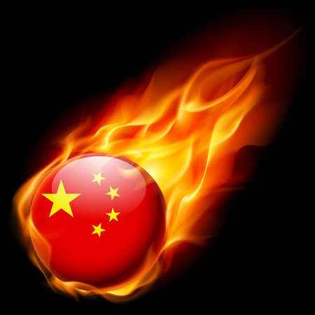 quemadura: Flag of China as round glossy icon burning in flame