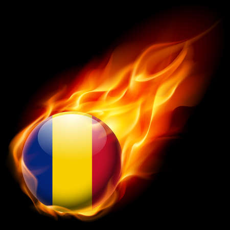 burns: Flag of Romania as round glossy icon burning in flame