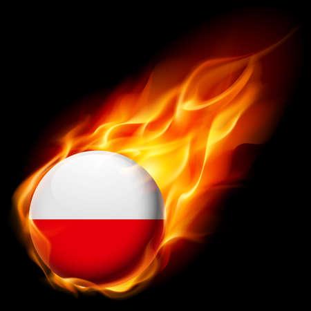 polish flag: Flag of Poland as round glossy icon burning in flame Illustration