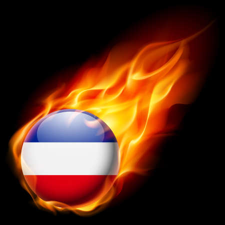 blue flame: Flag of Yugoslavia as round glossy icon burning in flame