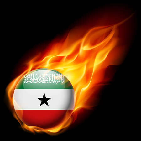 burn: Flag of Somaliland as round glossy icon burning in flame Illustration