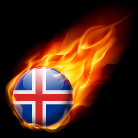 quemadura: Flag of Iceland as round glossy icon burning in flame