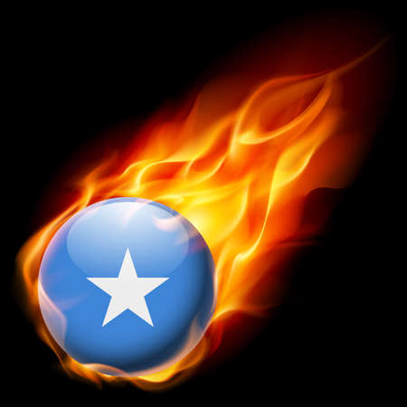 quemadura: Flag of Somalia as round glossy icon burning in flame