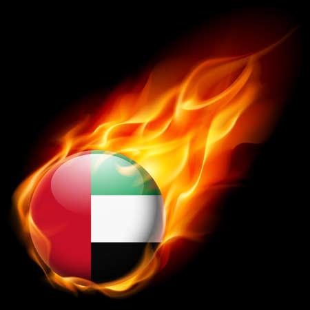 united arab emirate: Flag of United Arab Emirates as round glossy icon burning in flame Illustration