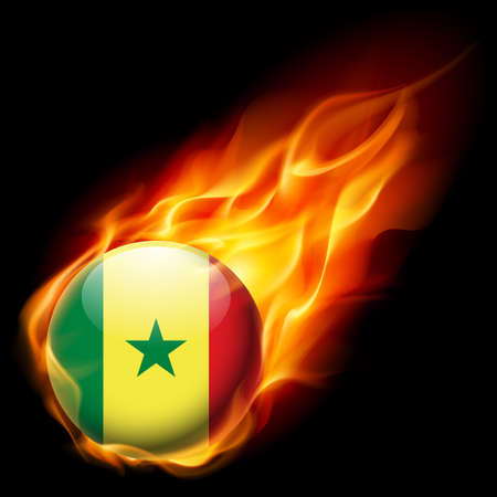 burns: Flag of Senegal as round glossy icon burning in flame Illustration