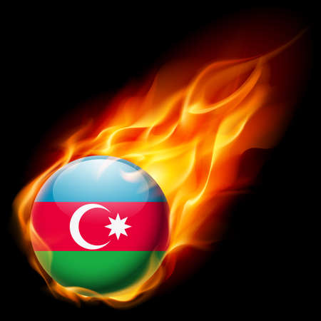 azerbaijanian: Flag of Azerbaijan as round glossy icon burning in flame