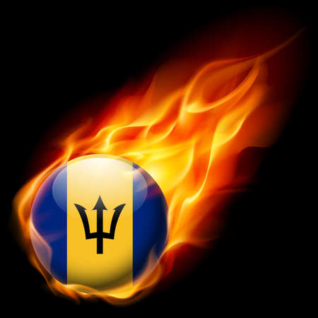 barbadian: Flag of Barbados as round glossy icon burning in flame