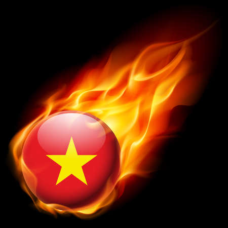 flags of the world: Flag of Vietnam as round glossy icon burning in flame