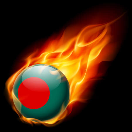 bandera: Bandera de Bangladesh como redonda que quema en la llama brillante icono