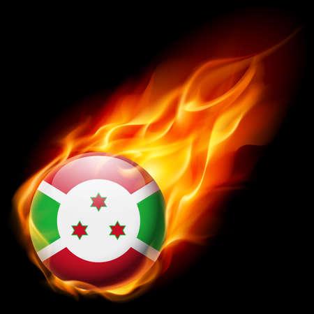 burns: Flag of Burundi as round glossy icon burning in flame Illustration