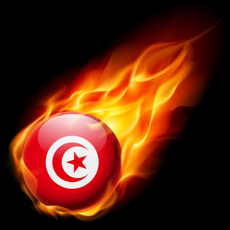 quemadura: Flag of Tunisia as round glossy icon burning in flame