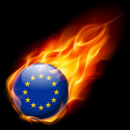 quemadura: Flag of European Union as round glossy icon burning in flame Vectores