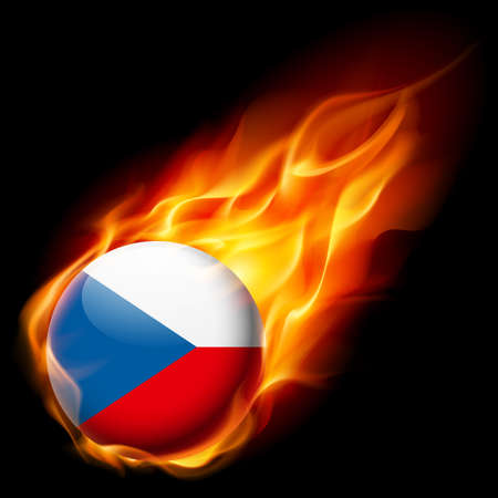 fiery: Flag of Czech Republic as round glossy icon burning in flame Illustration