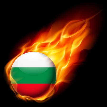 burn: Flag of Bulgaria as round glossy icon burning in flame